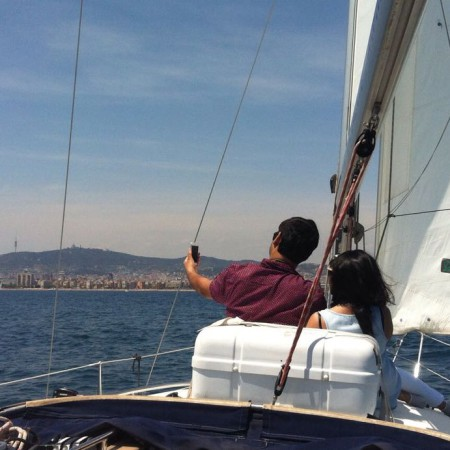 Sailing trip in front of Barcelona's skyline