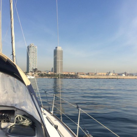 Sunrise in barcelona from our Sailboats
